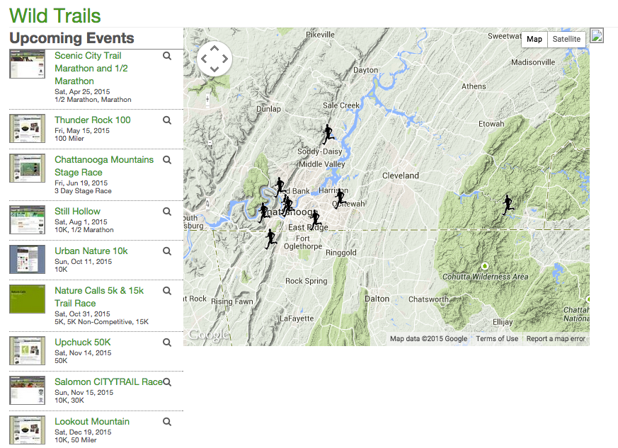 Wild Trails Race Series Maps - Trail Running, races, trail races, Chattanooga TN
